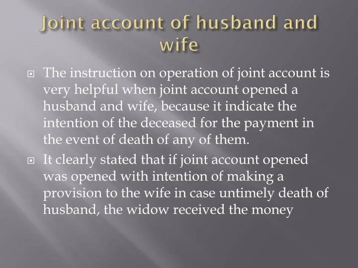 Joint account of husband and wife