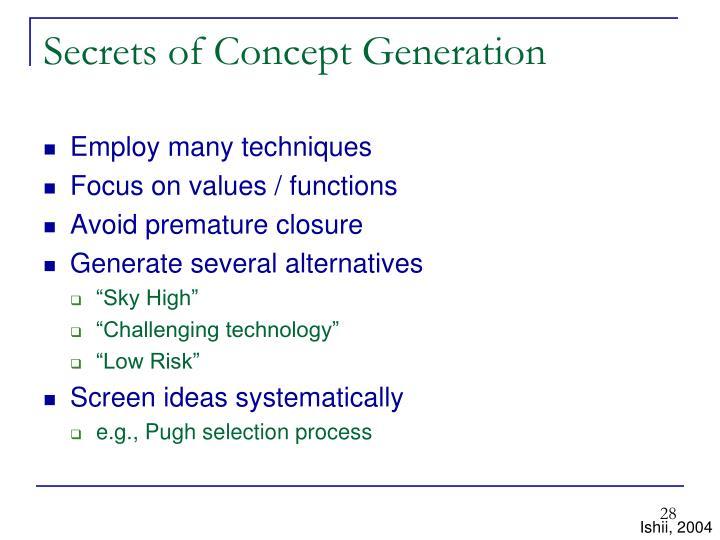 Secrets of Concept Generation
