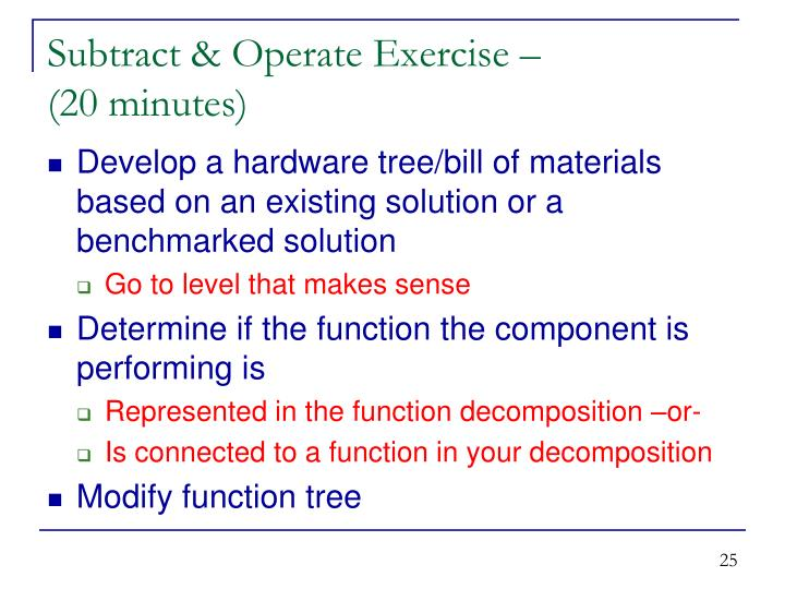 Subtract & Operate Exercise –