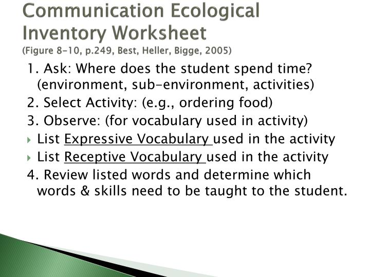 Communication Ecological Inventory Worksheet
