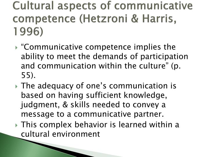 Cultural aspects of communicative competence (