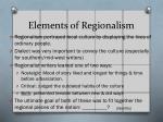 elements of regionalism