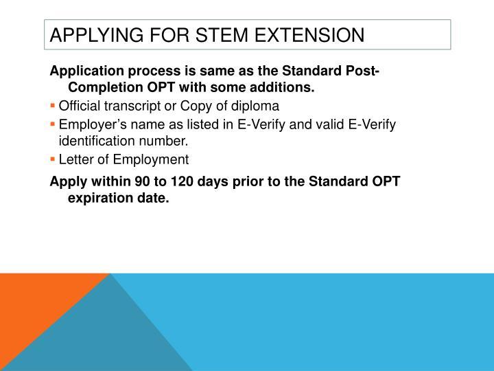 Applying for STEM Extension