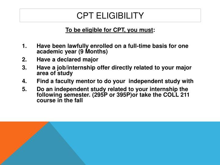 Cpt eligibility