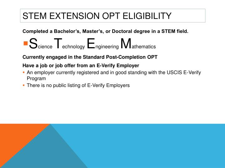 STEM Extension OPT Eligibility