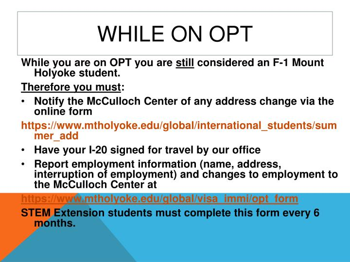 While on OPT