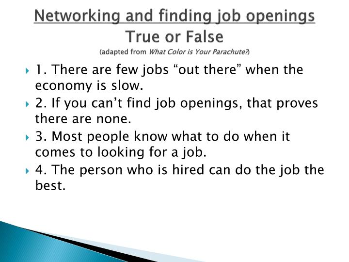 Networking and finding job openings