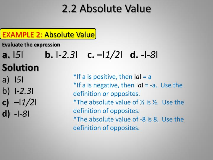 2.2 Absolute Value