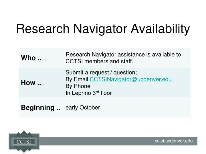 Research navigator availability
