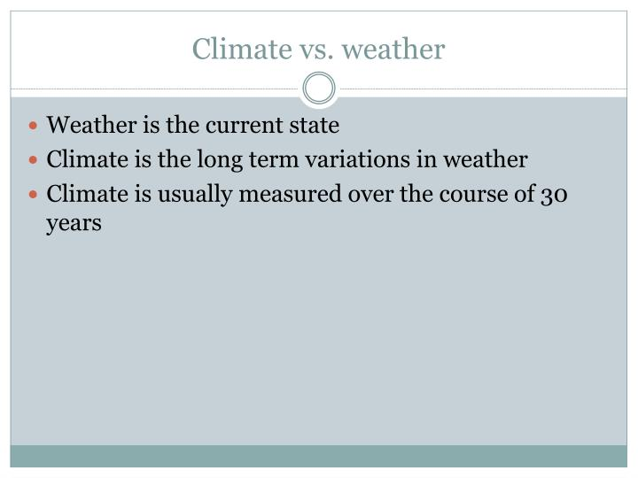 Climate vs weather