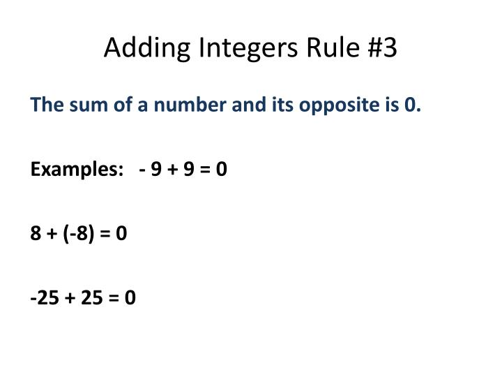 Adding Integers Rule #3