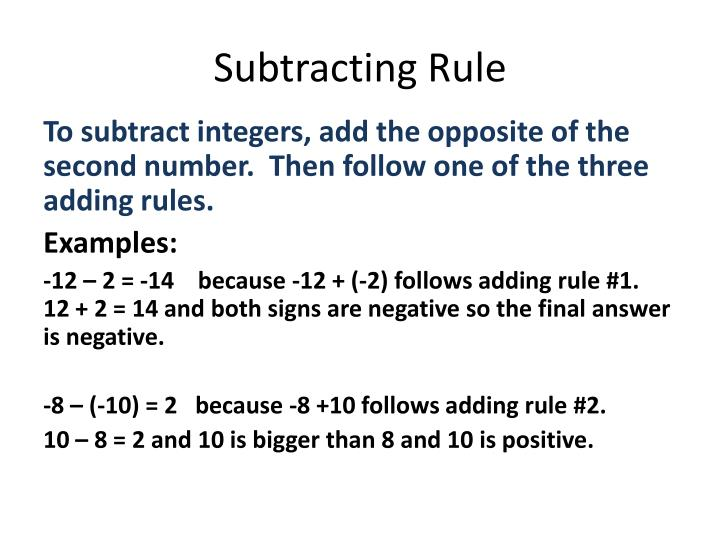 Subtracting Rule