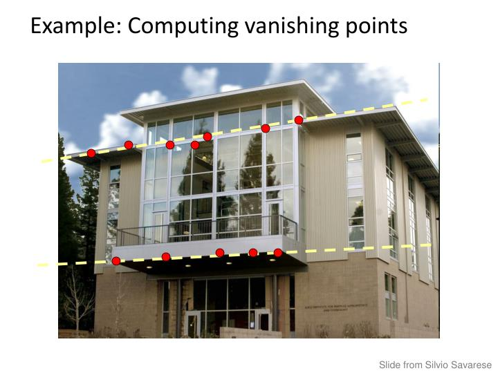 Example: Computing vanishing points