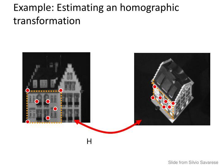 Example: Estimating an homographic transformation