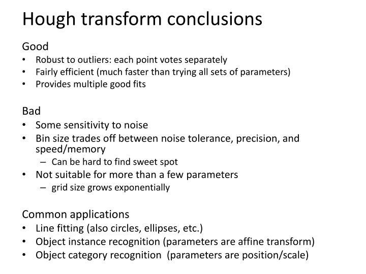 Hough transform conclusions