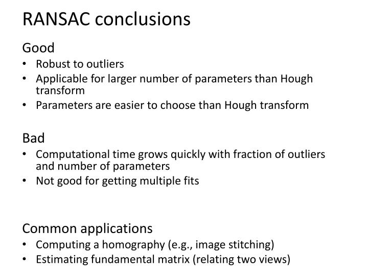 RANSAC conclusions