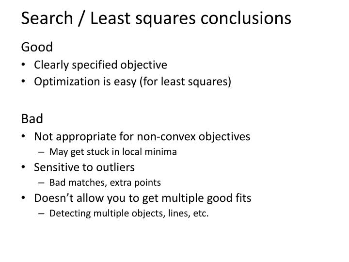 Search / Least squares conclusions