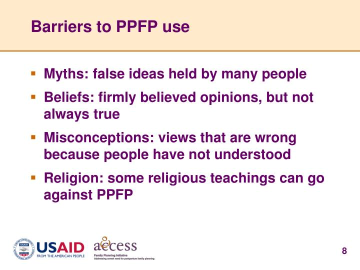 Barriers to PPFP use