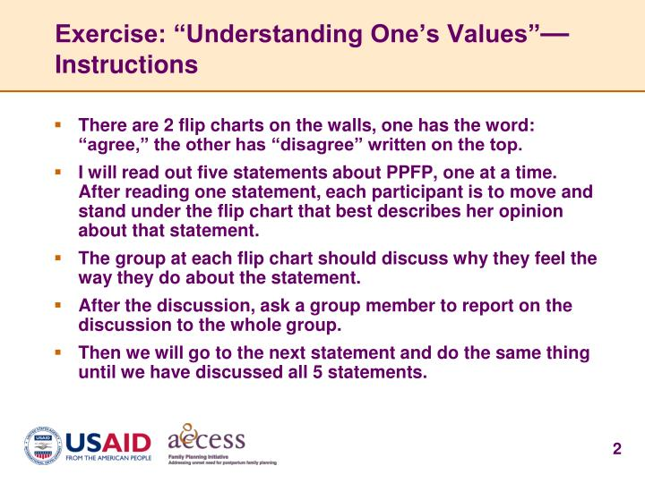 Exercise understanding one s values instructions