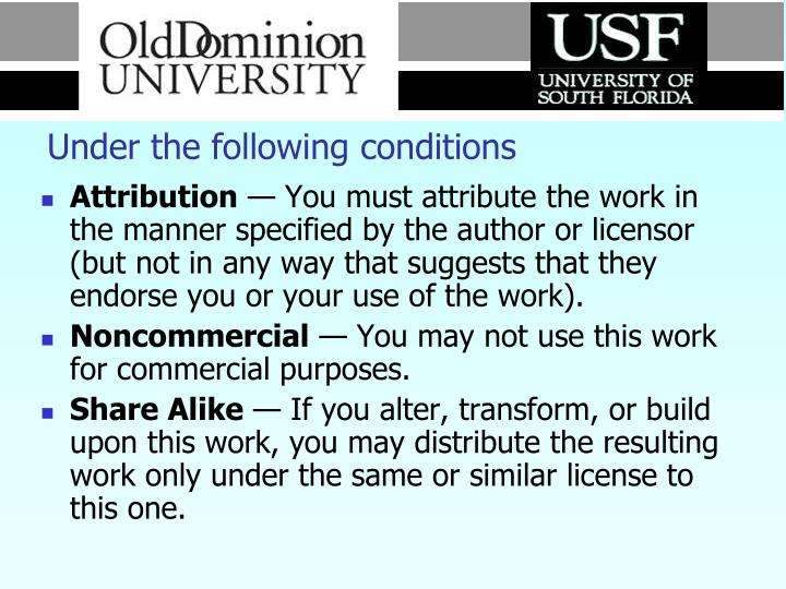 Under the following conditions