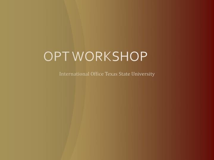 opt workshop n.