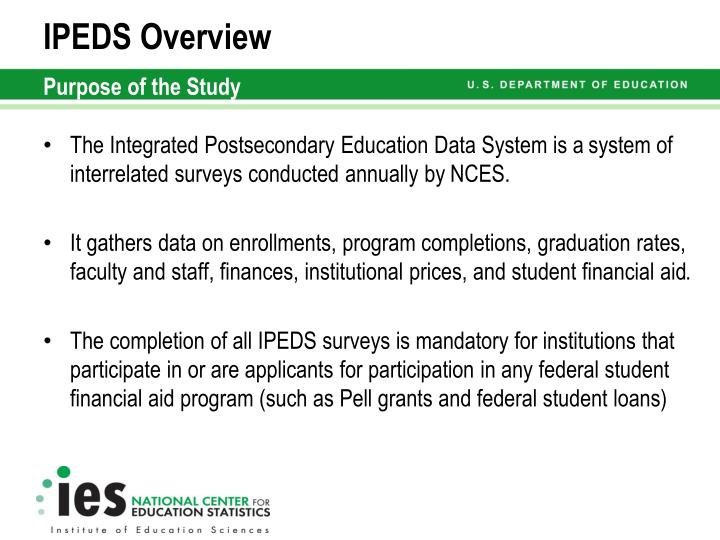 Ipeds overview purpose of the study