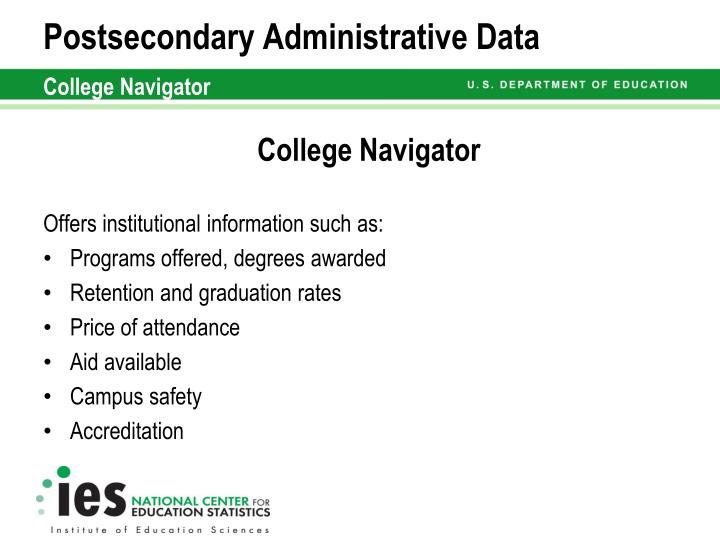 Postsecondary Administrative Data