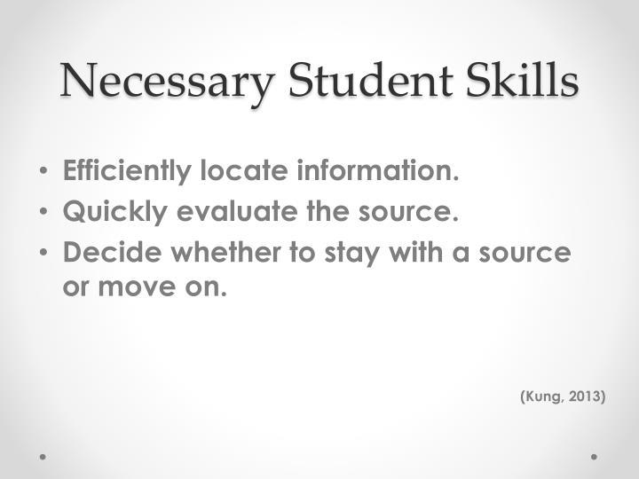 Necessary Student Skills