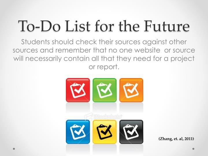 To-Do List for the Future
