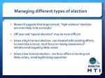 managing different types of election