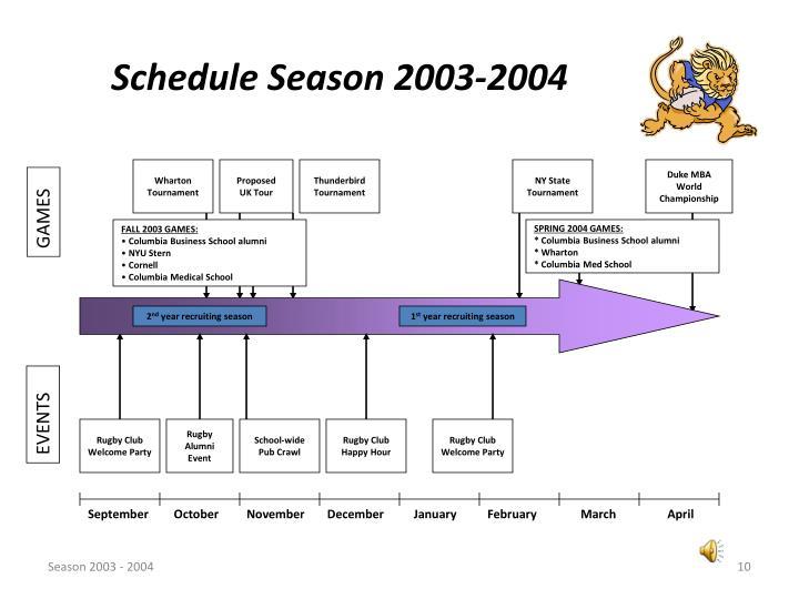 Schedule Season 2003-2004