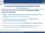 european standards guidelines esg draft initial proposal