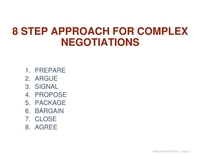 8 step approach for complex negotiations