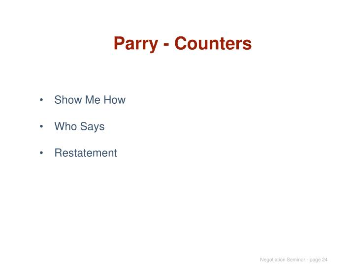 Parry - Counters