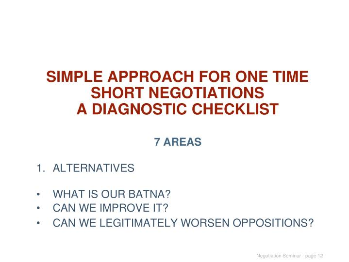 SIMPLE APPROACH FOR ONE TIME SHORT NEGOTIATIONS