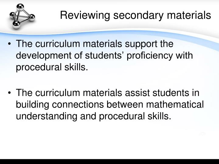 Reviewing secondary materials