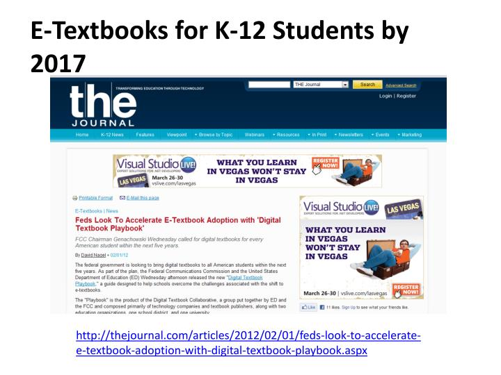 E-Textbooks for K-12 Students by 2017