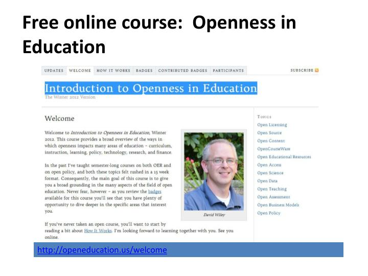 Free online course:  Openness in Education