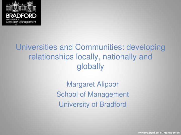 universities and communities developing relationships locally nationally and globally