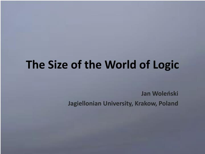 the size of the world of logic n.