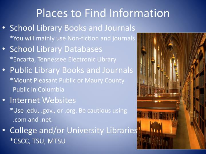 Places to Find Information