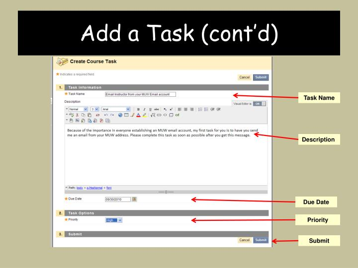 Add a Task (cont'd)