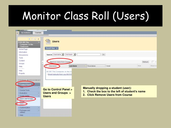 Monitor Class Roll (Users)