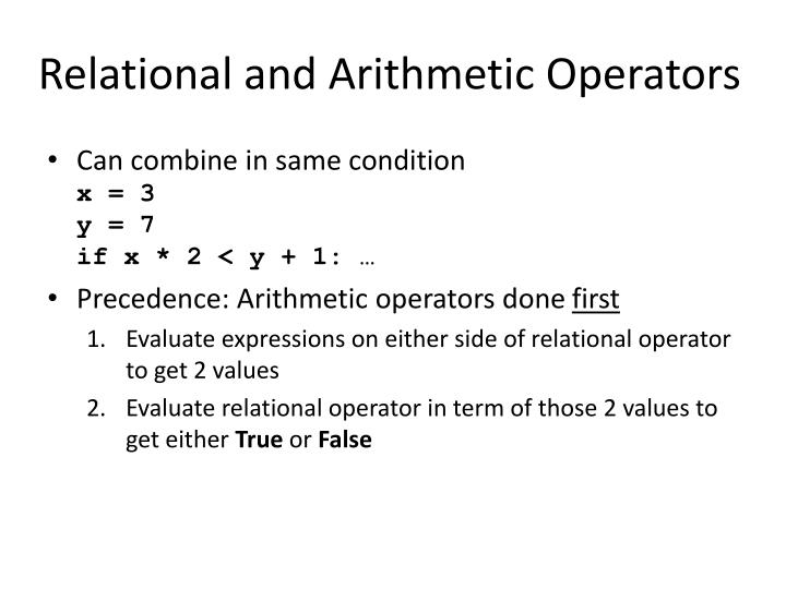 Relational and Arithmetic Operators
