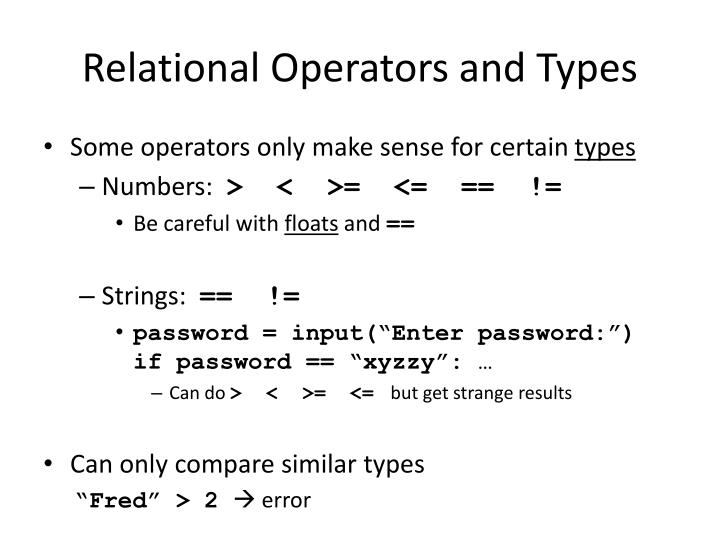 Relational Operators and Types