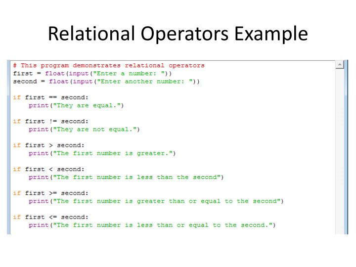 Relational operators example