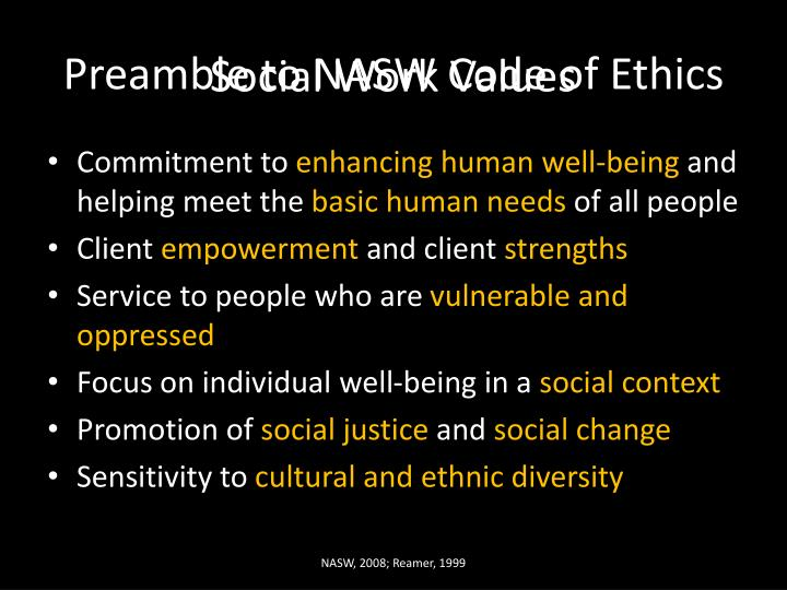 Preamble to nasw code of ethics