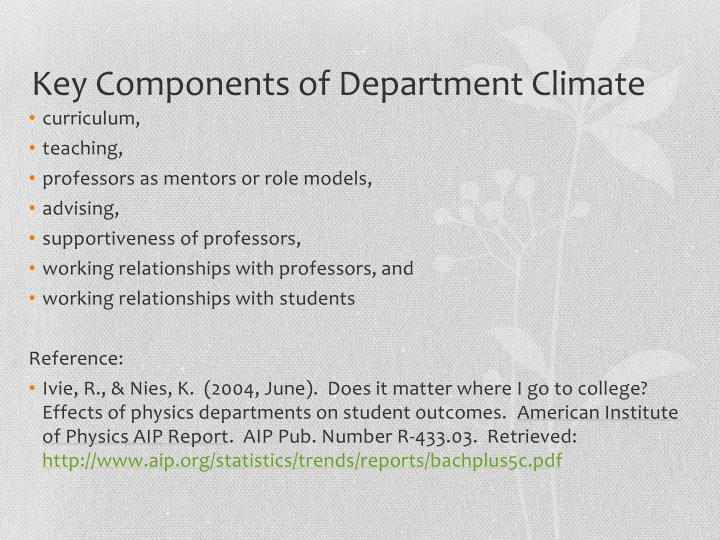 Key Components of Department Climate