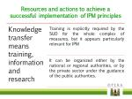 resources and actions to achieve a successful implementation of ipm principles
