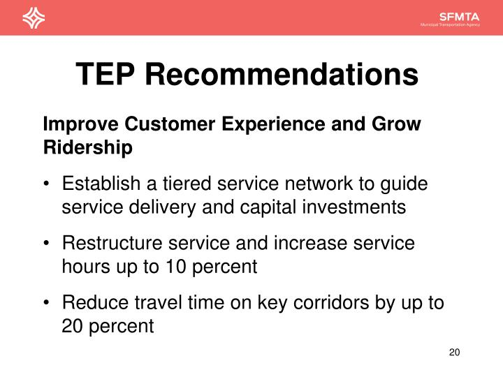 TEP Recommendations